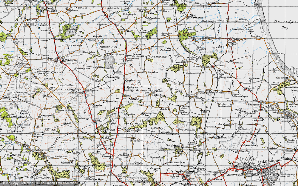 Old Map of Historic Map covering Bailiff's Letch in 1947