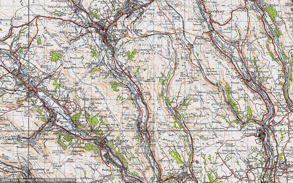 Old Map of Historic Map covering Bargod Taf in 1947
