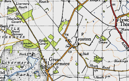 Old map of Troston in 1946