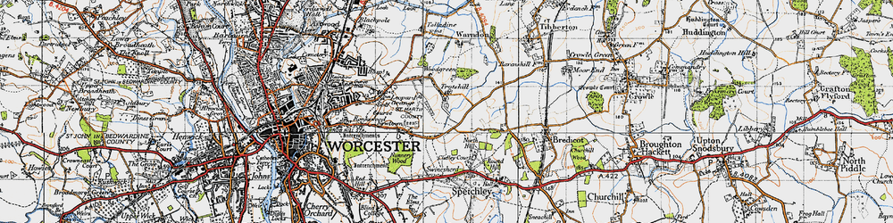 Old map of Withy Wells in 1947