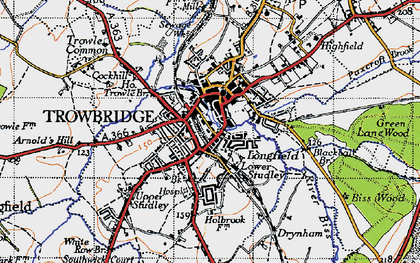 Old map of Trowbridge in 1946