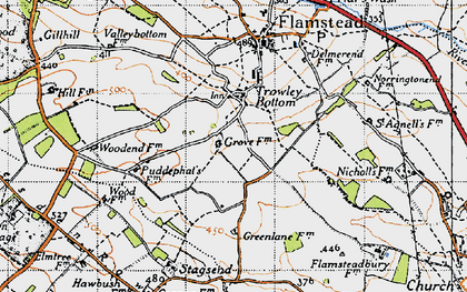 Old map of Trowley Bottom in 1946