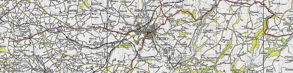 Old map of Truro in 1946