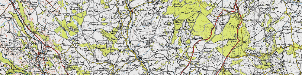 Old map of Whiteway Wood in 1946