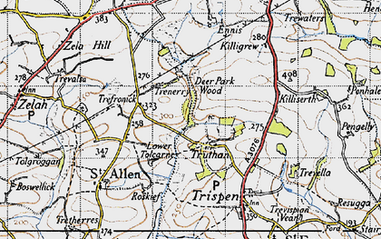 Old map of Tolcarne in 1946