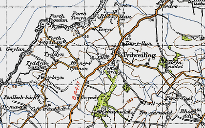 Old map of Tudweiliog in 1947