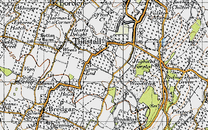 Old map of Tunstall in 1946