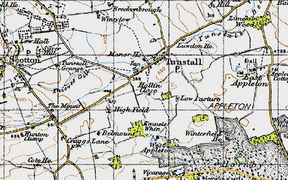 Old map of Tunstall in 1947