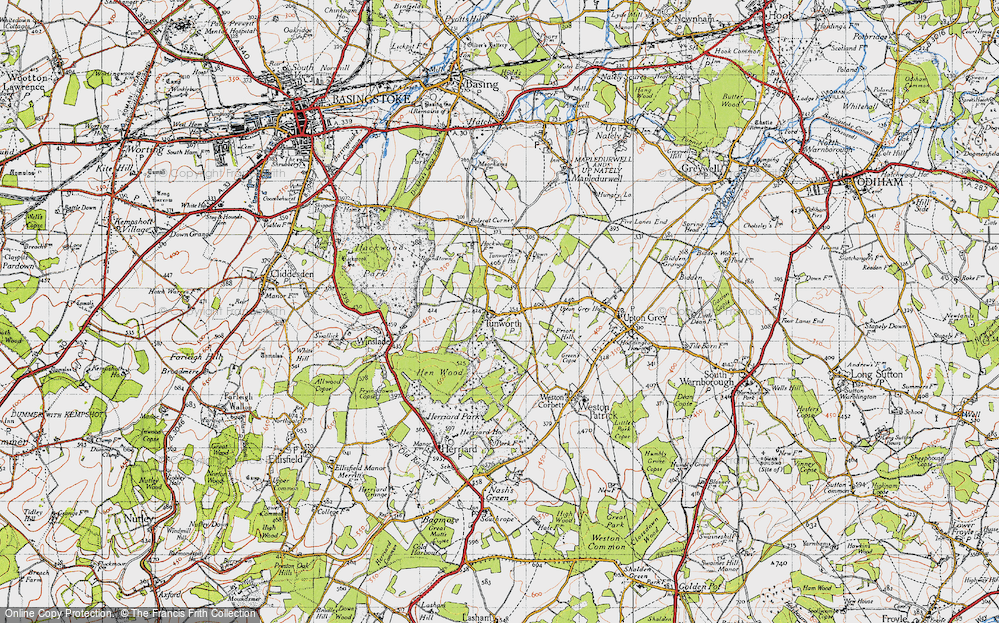 Old Map of Tunworth, 1945 in 1945