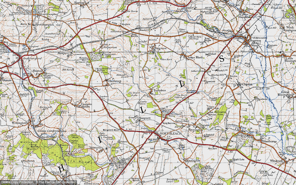 Old Map of Historic Map covering Leygore Manor in 1946