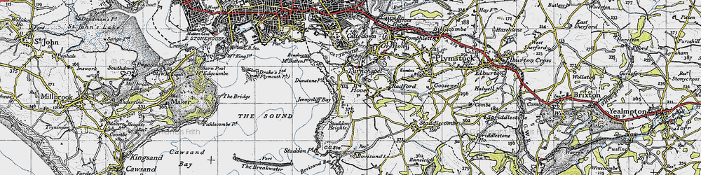 Old map of Turnchapel in 1946