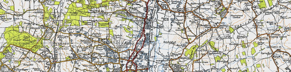 Old map of Turnford in 1946
