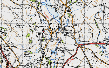 Old map of Turton Bottoms in 1947