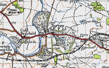 Old map of Turvey in 1946
