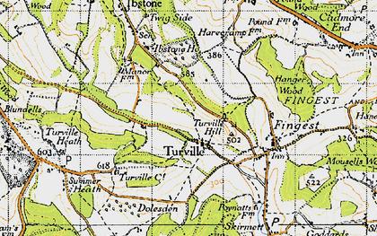 Old map of Ashfield Barn in 1947