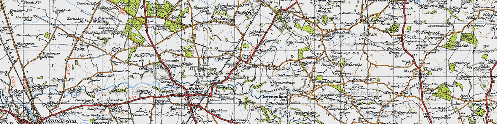 Old map of Twemlow Green in 1947