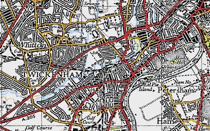 Old map of Twickenham in 1945