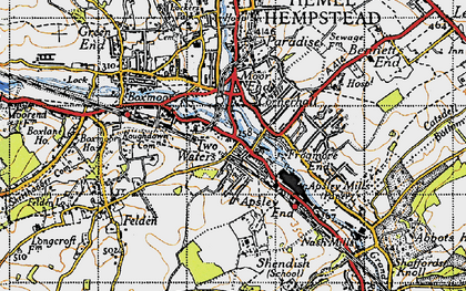 Old map of Two Waters in 1946