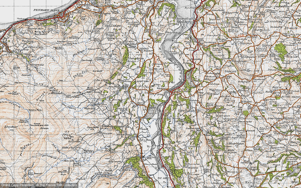 Old Map of Historic Map covering Afon Roe in 1947