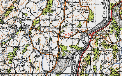 Old map of Afon Roe in 1947