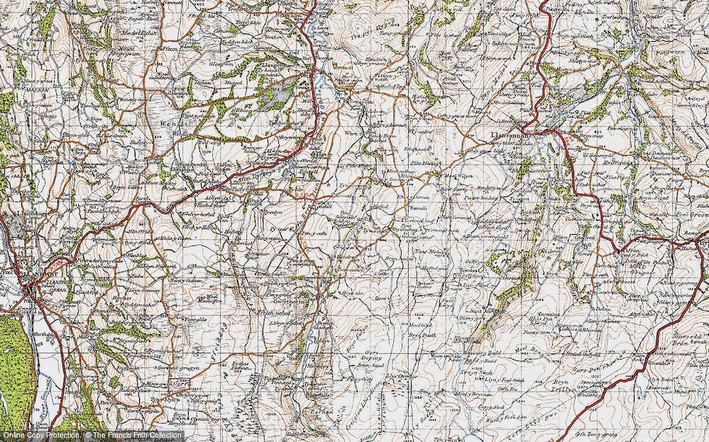 Old Map of Historic Map covering Afon Cledwen in 1947