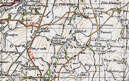 Old map of Afon Cledwen in 1947