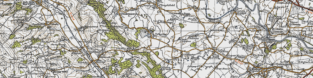 Old map of Tyberton in 1947