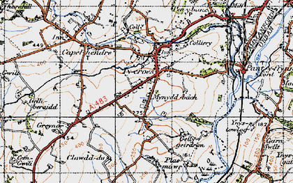Old map of Tycroes in 1947