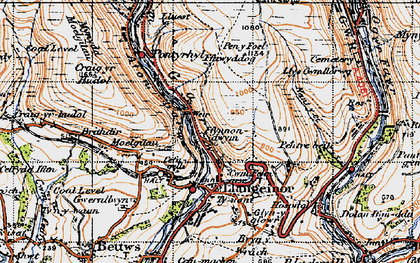 Old map of Afon Garw in 1947