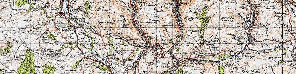 Old map of Afon Garw in 1947