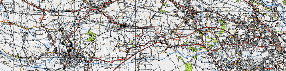Old map of Tyldesley in 1947
