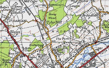 Old map of Allcroft Grange in 1947