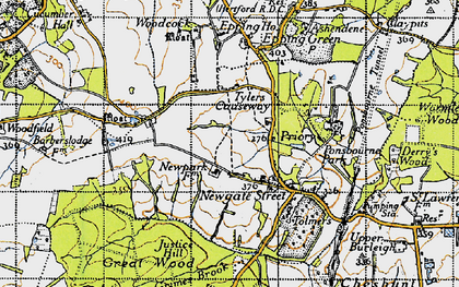 Old map of Tylers Causeway in 1946
