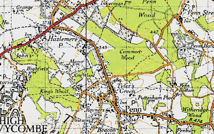 Old map of Tylers Green in 1946