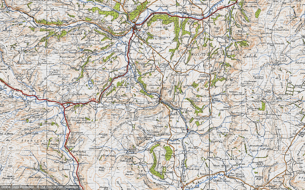 Old Map of Historic Map covering Banhadlog Hall in 1947