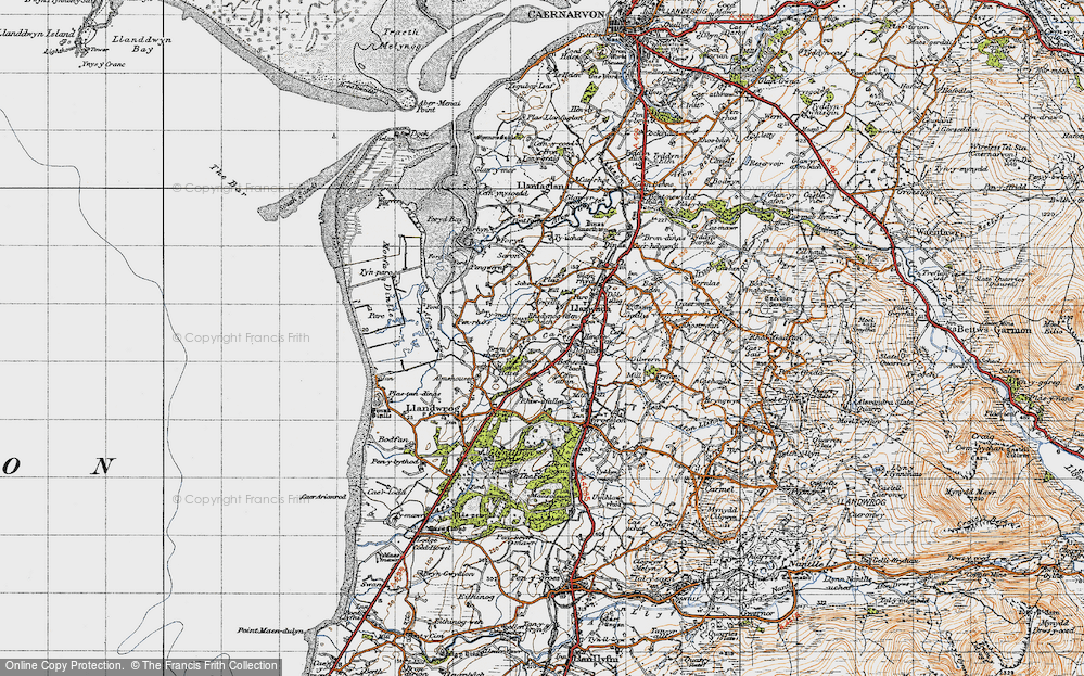 Old Map of Historic Map covering Afon Carrog in 1947
