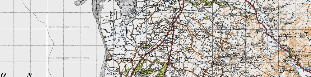 Old map of Afon Carrog in 1947