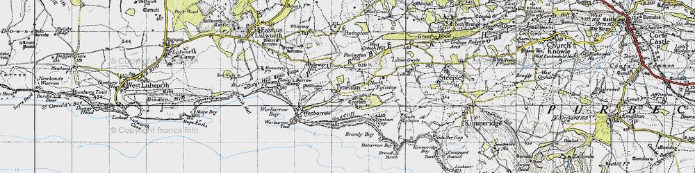 Old map of Tyneham in 1946