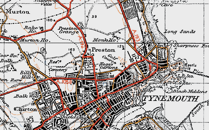 Old map of Tynemouth in 1947