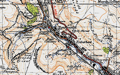 Old map of Tynewydd in 1947