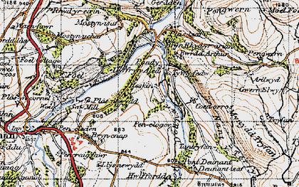Old map of Afon Deunant in 1947