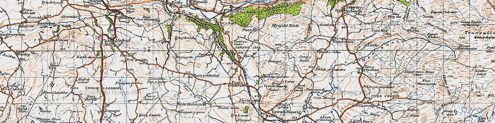 Old map of Ynys-Morgan in 1947