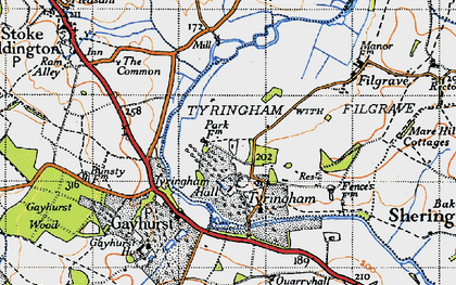 Old map of Tyringham in 1946