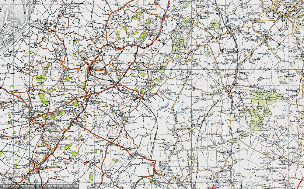 Old Map of Historic Map covering Baden Hill in 1946