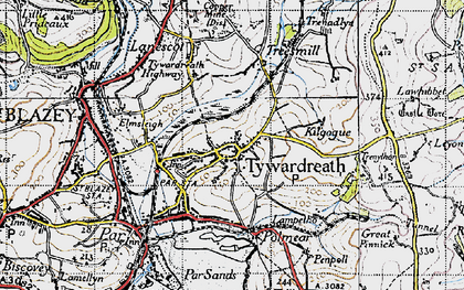 Old map of Tywardreath in 1946