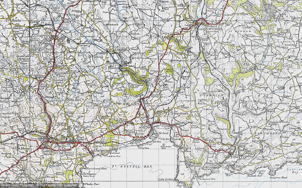 Old Map of Tywardreath Highway, 1946 in 1946