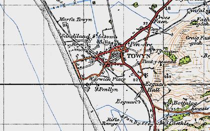 Old map of Tywyn in 1947