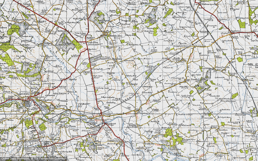 Old Map of Historic Map covering Lingy Moor in 1947
