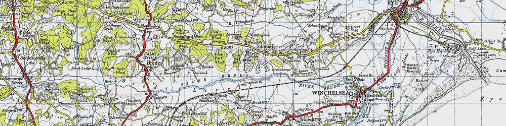 Old map of Udimore in 1940
