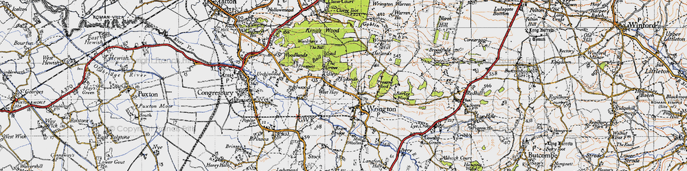 Old map of Wrington Hill in 1946